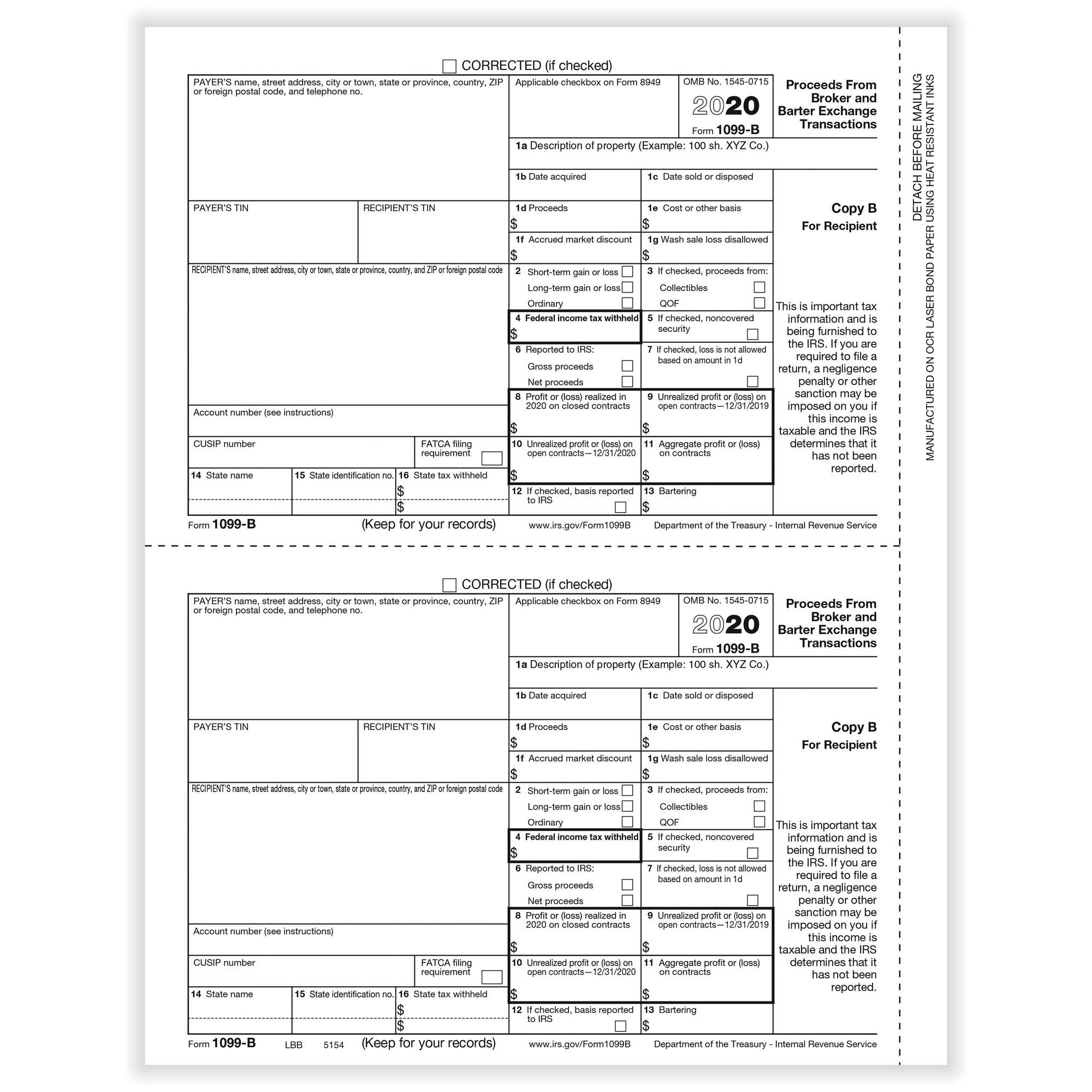 B Broker Rec Copy B Cut Sheet 400 Forms Pack