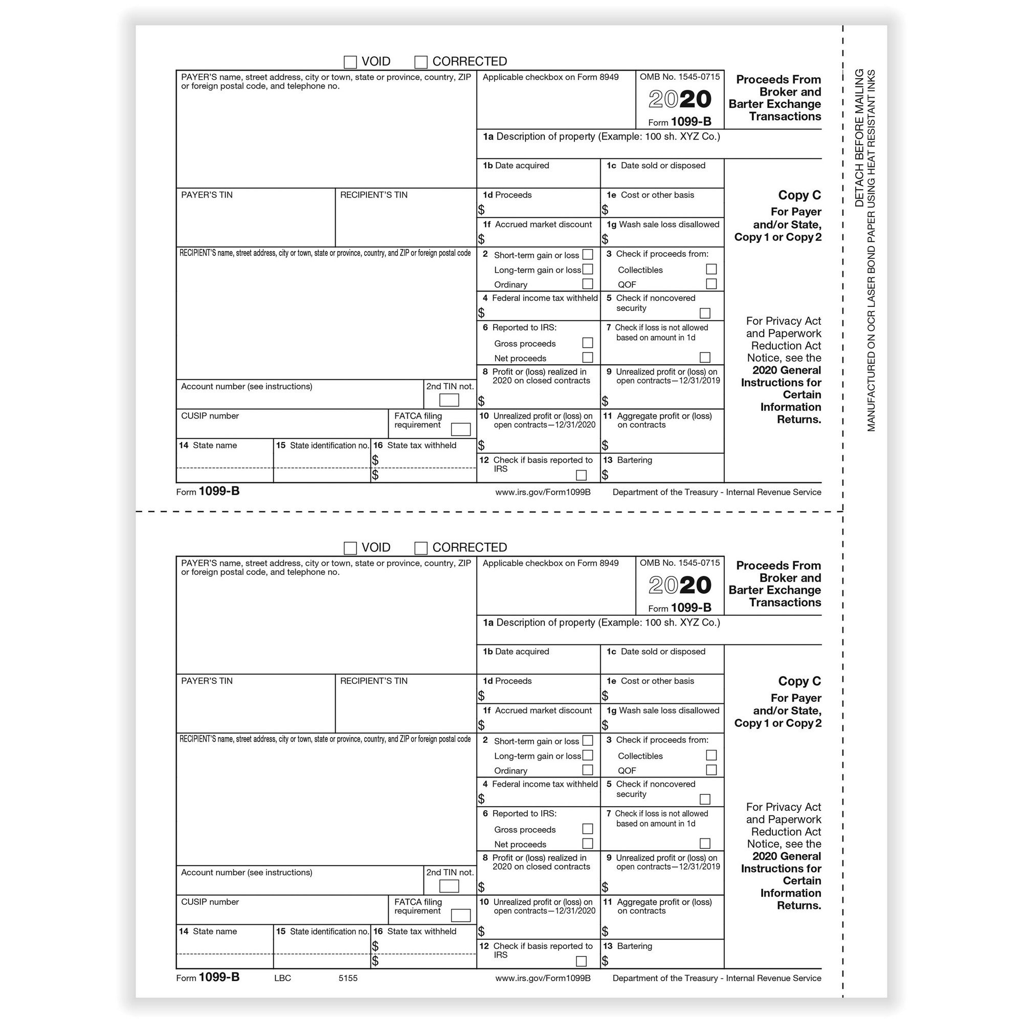 B Broker Payer Or State Copy C Cut Sheet 400 Forms