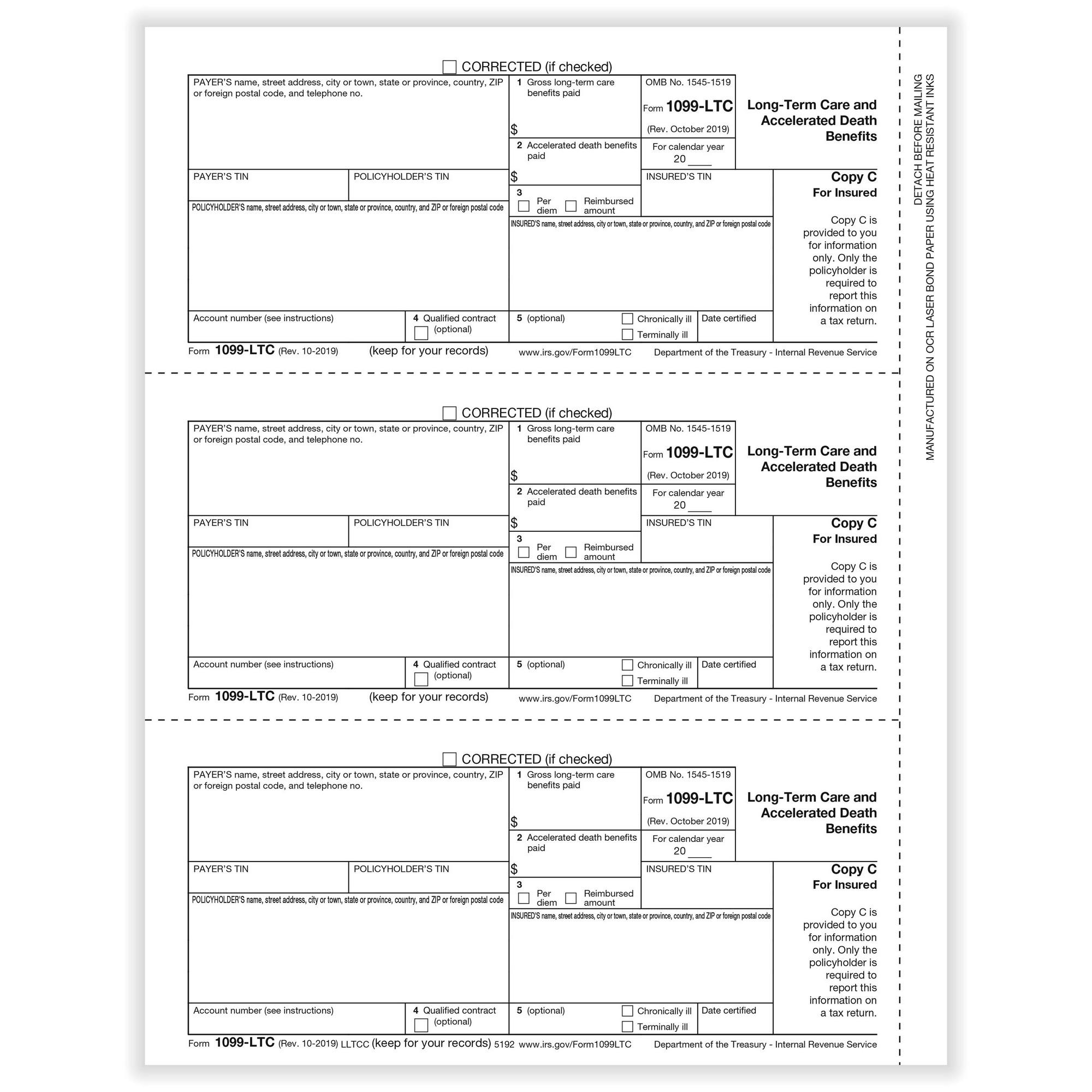 Ltc Long Term Care Insured Copy C Cut Sheet 500