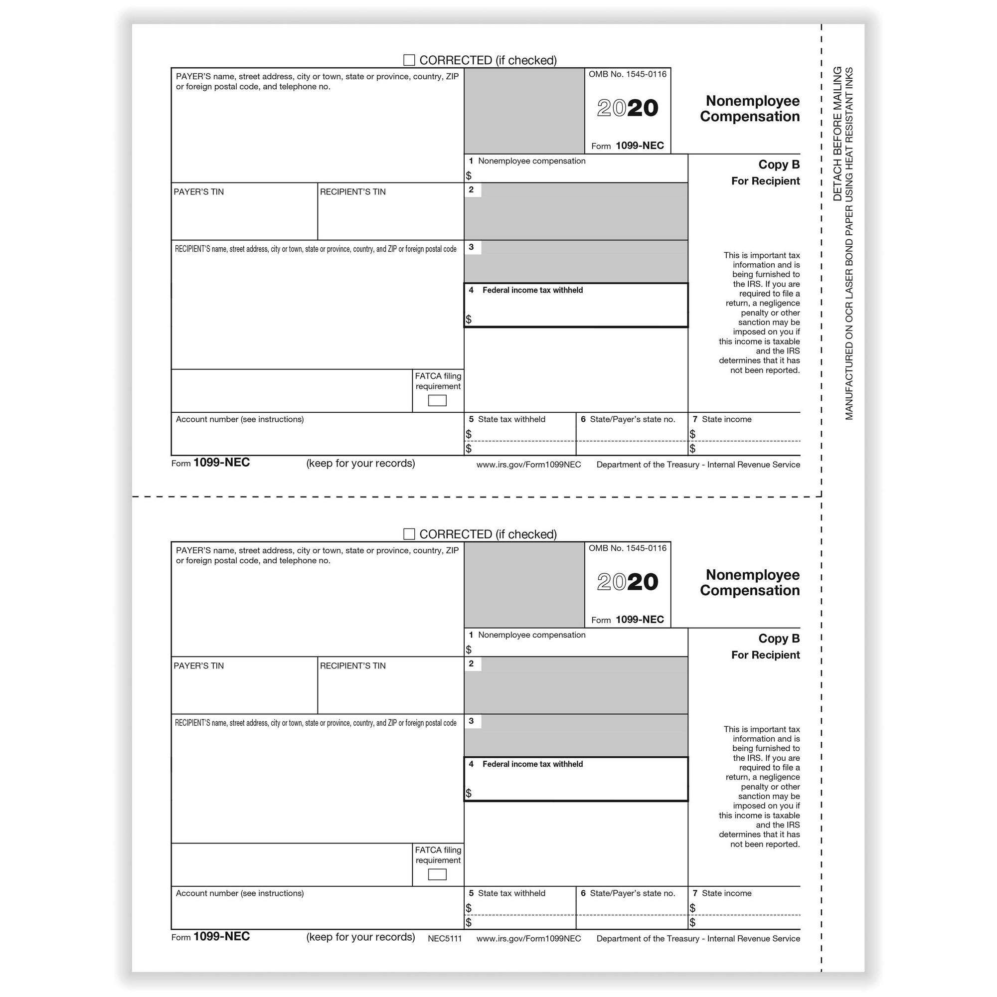 Nec Non Employee Compensation Rec Copy B Cut Sheet