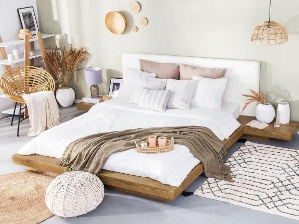 designer wooden bed japan 160 180 x 200 cm light brown beech with slatted frame japanese futon bed