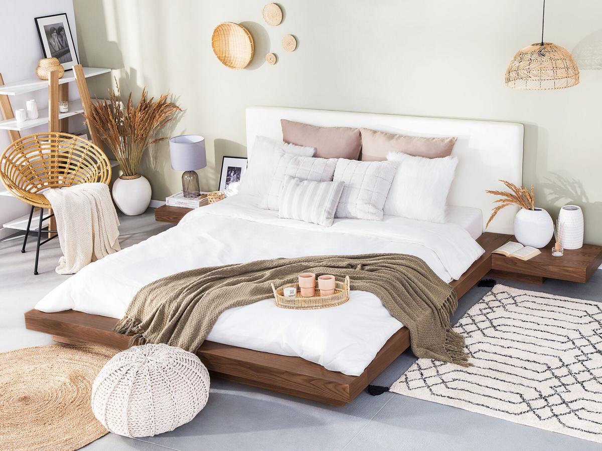 designer wooden bed japan 160 180 x 200 cm walnut brown with slatted frame japanese futon bed