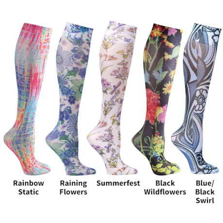Printed Mild Compression Knee High Stockings Womens