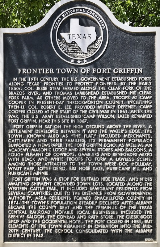Historic Marker For Fort Griffin