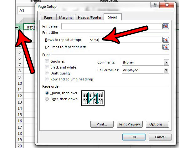 how to repeat the top row on every page in excel 2013