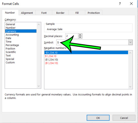 change currency format settings