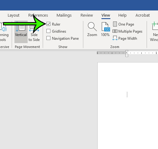 how to display the ruler in word