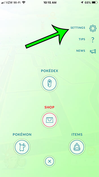 open pokemon go settings