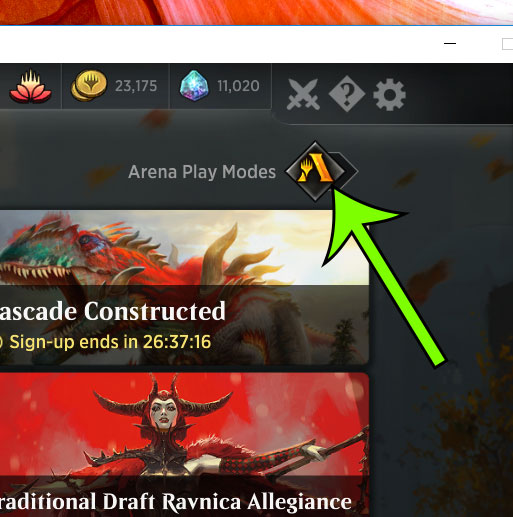 toggle mtg arena play mode options