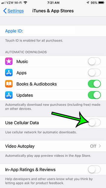 how stop using cellular data for iphone automatic downloads