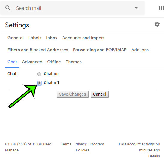 how to turn off chat in gmail