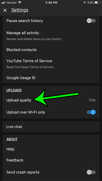 change youtube upload quality on iphone