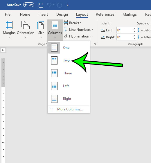 how to add a second column in microsoft word