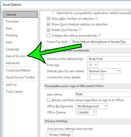 select the ease of access tab