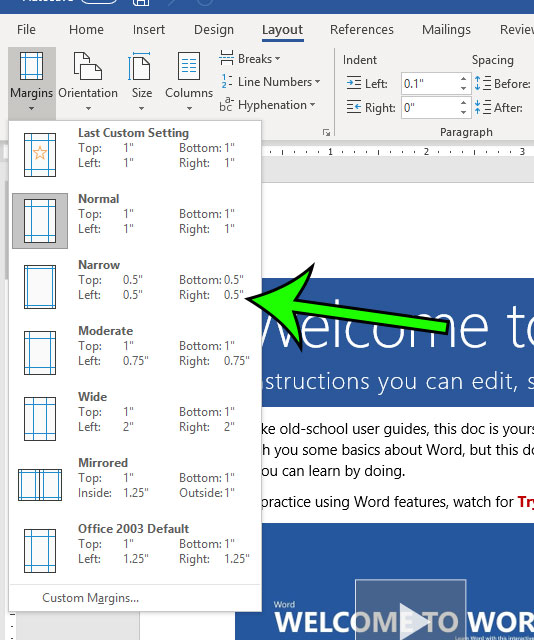 how to switch to narrow margins in microsoft word
