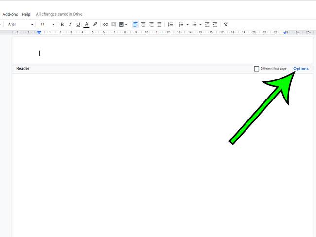 open google docs header options