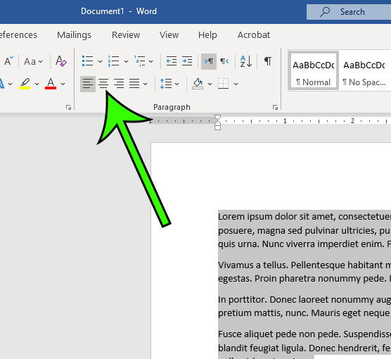 how to center align text in Microsoft Word