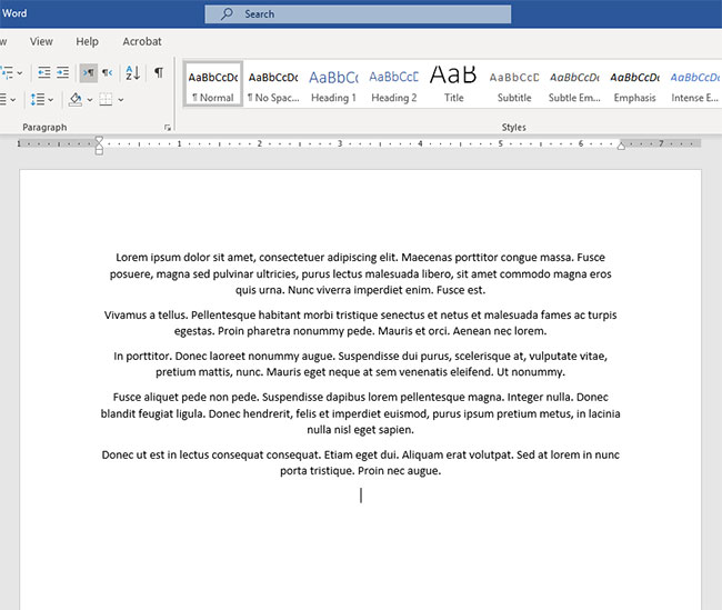 example of centered text in Microsoft Word