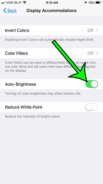 how to turn Auto Brightness on or off on an iPhone 7