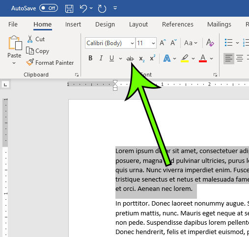 how to draw a line through text in Microsoft Word