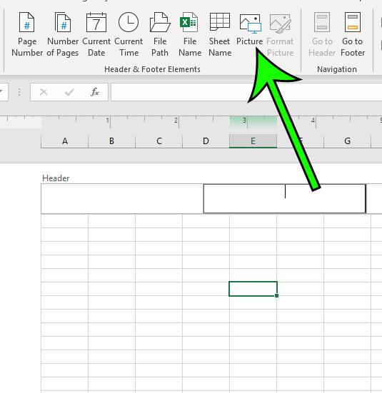 how to add a picture to a header in Excel for Office 365