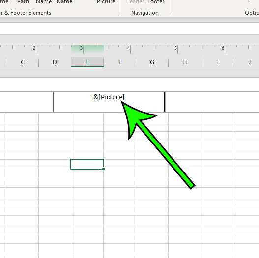 text indicating picture in Excel header