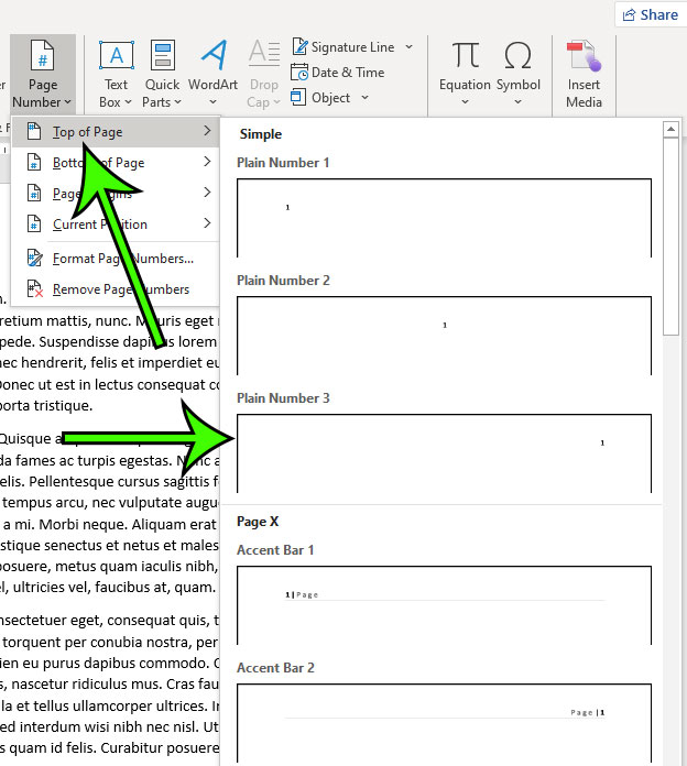 how to add page numbers to the top right of the page in Microsoft Word