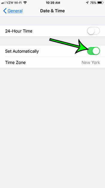 how to automatically set the time on an iPhone 7