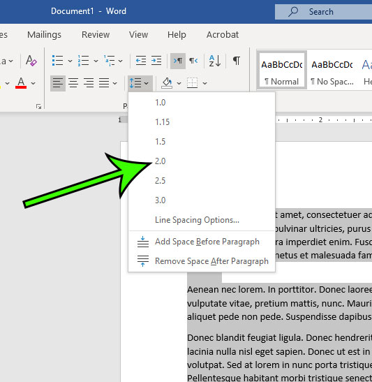 how to double space in Microsoft Word for Office 365