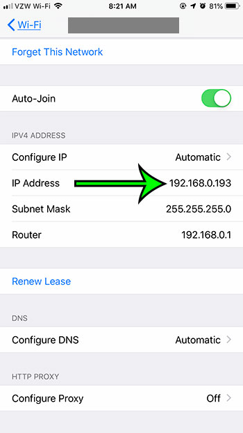 how to find the iPhone 7 IP address