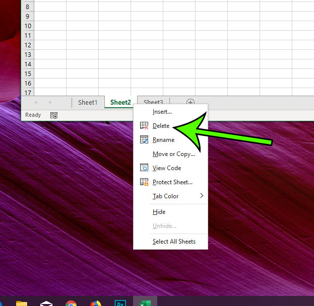 how to delete a sheet in Excel