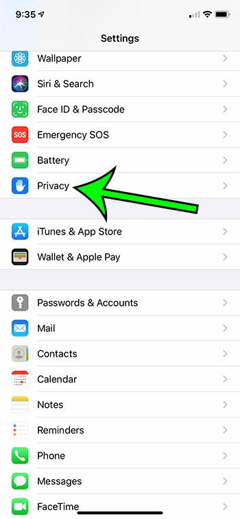 open the Privacy menu