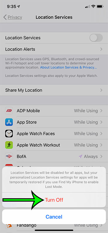 how to turn off Location Services on an iPhone
