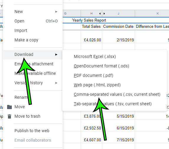 how to download a Google Sheets file as a csv file