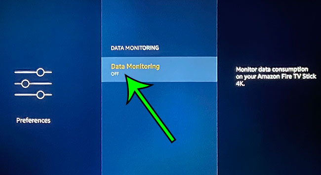 switch Data Monitoring to On