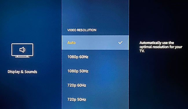 how to change the video resolution on the Amazon Fire TV Stick
