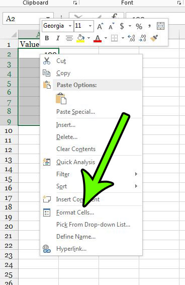 right-click a selected cell and choose the Format Cells option