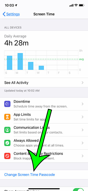 how to change the Screen Time passcode on an iPhone 11