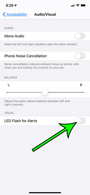 how to turn off the LED flash for alerts on an iPhone