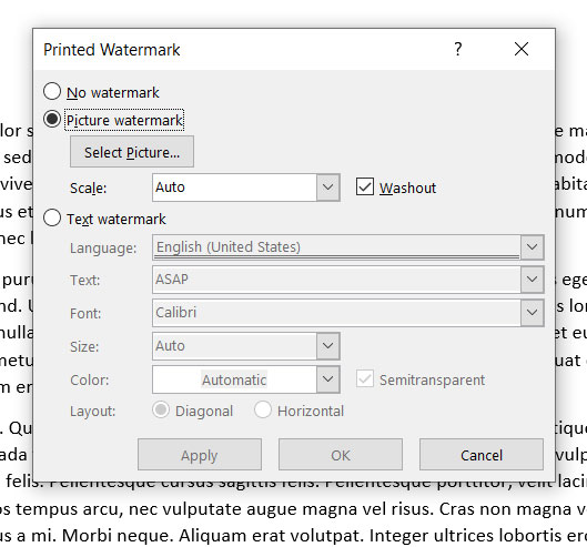how to add a watermark in Microsoft Word 2016, Word 2019, or Word for Office 365