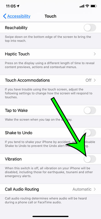 how to turn off vibrate on an iPhone 11