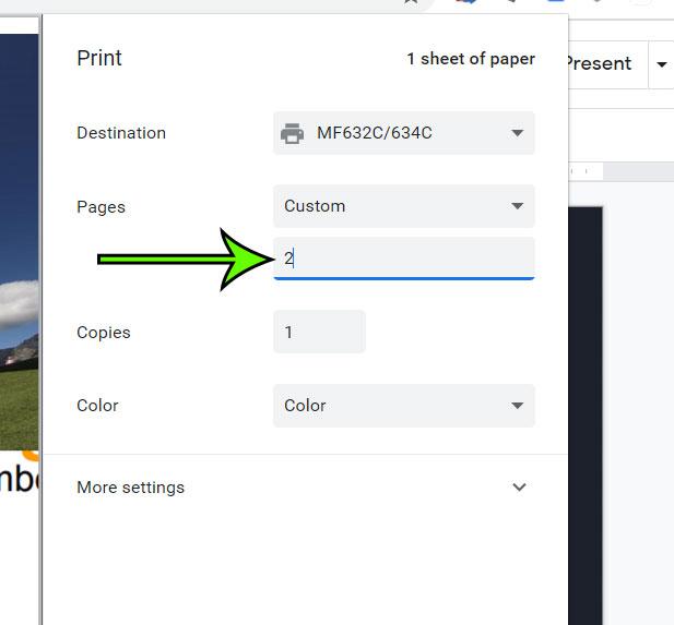 how to print a single Google Slide