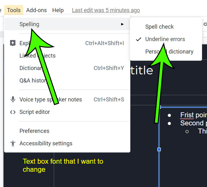 how to stop underlining spelling mistakes in Google Slides