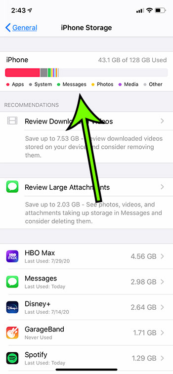 how much storage space is left on my iPhone 11