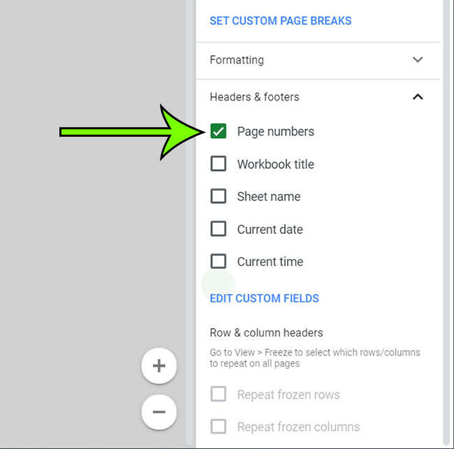how to add page numbers in Google Sheets
