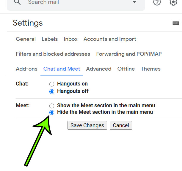 how to remove the Meet section from the Gmail inbox