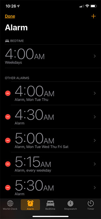 select the alarm to change
