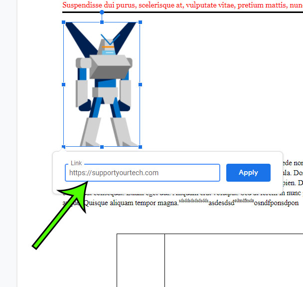 how to add a link to a picture in Google Docs