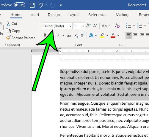 click the Font dropdown menu