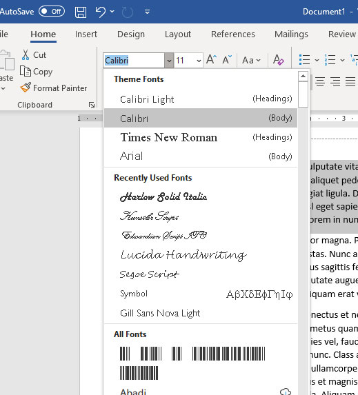 how to change the font for a selection in Microsoft Word for Office 365